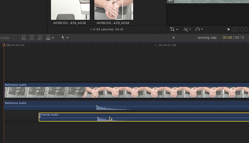 Two audio tracks being aligned in Final Cut Pro X