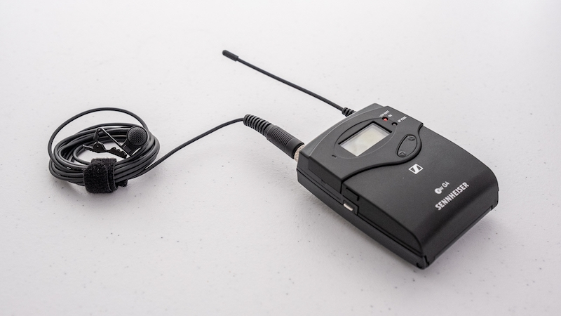 A wireless lavalier mic and transmitter